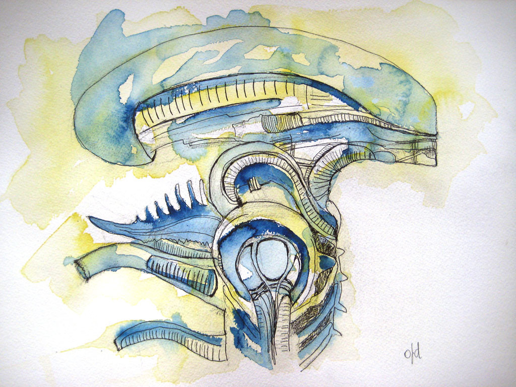 Alien sideways. Watercolor on paper